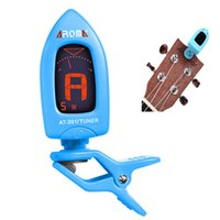 Wholesale LCD Clip on Electric Guitar Tuner Universal for Bass Guitar Chromatic Violin Ukulele Colors Aroma AT