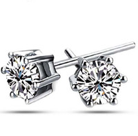 Wholesale NEW AAA Austria Crystal Stud Earrings For Women Six Claw White Gold Plated Sterling Silver Mens Stud Earrings Freeshipping