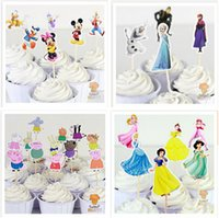 Wholesale Mickey and minnie Candy Bar Cupcake Toppers Party Decoration Supplies Picks Frozen Princess Cake Toppers Picks Christmas Gifts R850