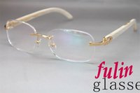 Wholesale horn factory Gold or Silver White Genuine horn Brand Eyeglasses Frame Size mm