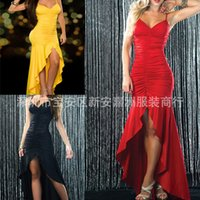 america ankles - Hot explosion models in Europe and America trade dress prom dress straps irregular deep V prom dress colors yards