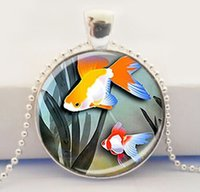 glass fish bowl - Goldfish Pendant Gold Fish Bowl Pendant Jewelry Glass Art Pendant Goldfish Necklace