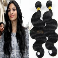 brazilian hair bundle jet black - Body Wave Human Hair Extensions Jet Black Wavy Brazilian Hair Weaves Black Peruvian Malaysian Indian Remy Hair Wefts Bundles quot quot