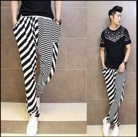 Wholesale Mens White Hip Hop Harem Pants Summer Fashion Stripe Style M L XL