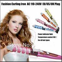 Wholesale 2016 New Useful Hair Salon Spiral Ceramic Curling Iron Hair Curler DIY Travel Colors