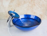 Wholesale 4069 Dark Blue Glass Round Bathroom Art Washbasin Tempered Glass Vessel Sink With Waterfall Chrome Faucet Set