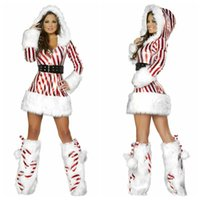 Wholesale Candy Cane Hooded Stripe Dress Sexy Santa Christmas Carnival Costume Outfit With Leg warmers Belt