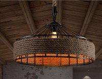 american hotel furniture - Allison American county retro clothihg decorative furniture lamp wrought iron hemp rope chandelier cafe restaurant