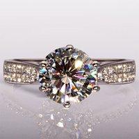 al por mayor anillos de compromiso de diamantes redondos-Envío libre del corte redondo caliente 4CT Topaz Diamonique diamante simulado 14KT oro blanco lleno de compromiso GF mujeres anillo de bodas SZ 5-11