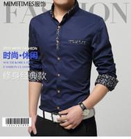 big menswear - GXG summer new long sleeved shirt Slim Korean men s fashion casual menswear trend youth shirt big yards plus fertilizer to increase