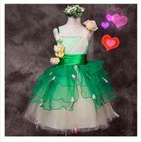Wholesale girls green fairy flowers cosplay dress girls princess dress girls stage dress kids tutu skirt girls dance dresses