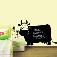 art cows - bedroom decoration Creative Cow pvc green wall stickers cartoon children s drawing large teaching blackboard stickers erasable DLX027