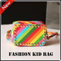 Wholesale 2016 Fashion Children rainbow stripe bag Kids Shoulder bag Messenger Bags Vintage stripe Bags Cross Girls Handbag Child Accessories KW BA093