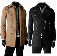 2015 Casual overcoat Double Breasted men Coat British Style Slim Fit Long Trench Coat Men jacket Manteau famous brand woolen outerwear