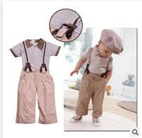 Wholesale Boys clothing set summer children short sleeve turn down collar t shirt pants baby clothes costume kids wear
