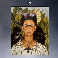 abstract portrait painting - Frida Kahlo Original Self Portrait with Thorn Necklace and Hummingbird c GICLEE poster print on canvas