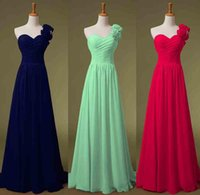 Cheap 2015 One Shoulder Chiffon Evening Bridesmaid Dresses Green Navy Blue Lime Lilac Handmade Flowers Long Bridal Prom Party Prom Gowns In Stock