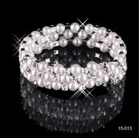 belly bracelets - White Rhinestones Bridal Jewelry Pearls Bracelets bridal Wedding Accessories Silver Plated Row Chain Style Wedding Bracelet