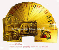 Wholesale 100sets Gold foil plated playing cards Plastic Poker US dollar Euro Style and General style With Certificate Christmas gift