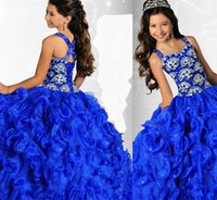 Wholesale 2015 New Arrival Kids Wedding Flower Girl Dresses Beautiful Beading Cascading Ruffled Royal Blue Ritzee Girls Pageant Ball Gown G004