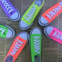 Wholesale 2014 low canvas shoes candy color pure color neon color lace low canvas shoes Leisure sports shoes Flat shoes