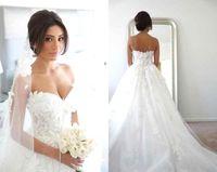best bridal corset - Romantic Best Selling A Line Wedding Dresses Sweetheart Sweep Train Corset boho Wedding Gowns Appliqued Lace Plus Size Bridal Gown