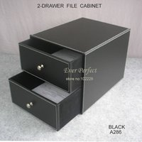 Wholesale 2 drawer double layer leather office filing cabinet desk file organizer holder storage box A286