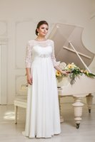 Wholesale 2015 PW0006 Simple Graceful Flowing Scoop Beaded Sash Sleeves Chiffon Floor Length A line Plus Size Wedding Dresses