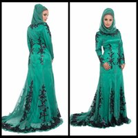 fashion in turkey - 2015 Long Sleeves Lace Beaded Silk Amira Formal Turkey Hijab Abaya in Dubai kaftan Dress Emerald Green Muslim Evening Dress