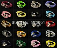 Wholesale Fashion Jewelry Vintage Silvers Magnetic Rhinestone Buckle Pearl Weave Leather Wrap Wristband Bracelets Bangles Q301
