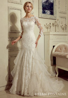 Wholesale 2016 Church Simple Bridal Gowns Modest Mermaid Sweetheart Sheer Sleeves Lace Organza Wedding Dresses With Sleeves Vestidos De Novia HFW10203