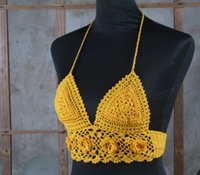 Wholesale Double crocheted handmade crochet Applique camisole bikini knitted crop tops sexy summer swimwear bikini fashion bra tops