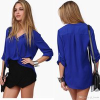 Wholesale Ms fashionable woman loose long sleeved shirts sexy v neck chiffon shirt ms size XL XXL shirt jacket leisure shirt
