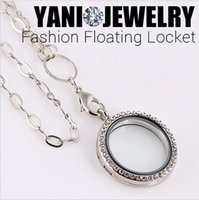 floating charm locket necklace - 10pcs Mix Colors mm Rhinestone Round Magnetic Glass Living Memory Floating Charm Locket Pendant With Free Chains