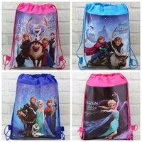 Wholesale 2014New Arrival Retail styles frozen drawstring bags Anna Elsa backpacks handbags children kids shopping bags present