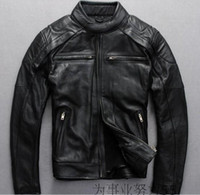 leather motorcycle apparel - Motorcycle Apparel shell faric cow leather Men Motorcycle jackets YKK zipper Racing jackets genuine leather jackets
