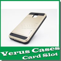 id cards - Galaxy S6 Slide case Hybrid VERUS For iPhone Card Slot Wallet ID back cover shell for Samsung S6 edge G9200 S5 Note Iphone plus