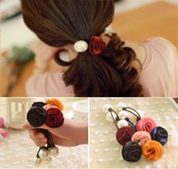 Cheap Hairbands accessories Fashion roses pearl hairbands for women beauty flower hair rope headbands for bands 24pcs lot