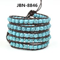 bead wrap bracelet turquoise - 2016 Novelty fashion jewelry Multilayer wrap bracelet mm turquoise beads woven bracelet for men wrapped bracelet JBN