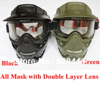 Wholesale scctt green or black color cs paintball mask with double lenses for paintball accessories equipment