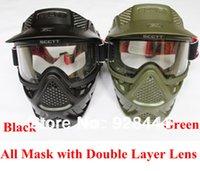 Livraison gratuite scctt vert ou noir cs masque de paintball avec des lentilles doubles pour l'équipement des accessoires de paintball