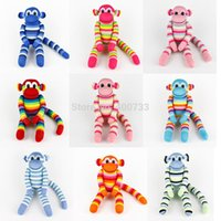 sock monkey - 37CM Tall Baby Birthday Gifts handmade DIY stuffed sock animals doll baby toys Traditional Big Monkey Christmas New Year Gifts