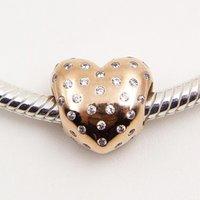 925 plata esterlina y oro de Rose plateado del encanto del grano chispeante Corazón con Cz europea apta Estilo Pandora pulseras de la joyería Collares