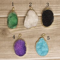 druzy jewelry - 5pcs Druzy Druzzy Drusy Pendant electroplated in Gold Crystal Quartz Gemstone Pendant Charm Beads In color Jewelry findings