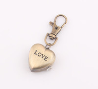 Wholesale Vine antique Bronze tone Bike keychain Fashion Clock Heart Pocket Watch Pendant Quartz Watches key Chain ZW28