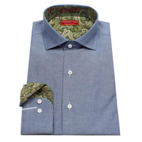 bespoke dress shirts - Grey worsted cowboy style cattle men s bespoke tailor made Dress Shirt contrast collar and cuff