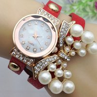 bangles boutique - Boutique rhinestone belt quartz watch women diamond pearl butterfly layers PU leather bands wristwatch bracelets bangle charm jewelry gift