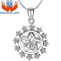 amazon gift - S925 Silver Pendant Pendant Necklace Gardenia zircon silver jewelry micro inlays Amazon foreign trade D