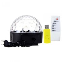 Wholesale DHL shipping MP3 Magic Crystal Ball LED Music stage light Party disco DJ party Stage Lights lighting U Disk Remote Control lamp waitingyou