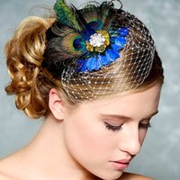 Wholesale Fashion Rhinestones Women Headwear Peacock Feather Headwearings Bridal Weddings Hair Clip Hairpin Head Anne